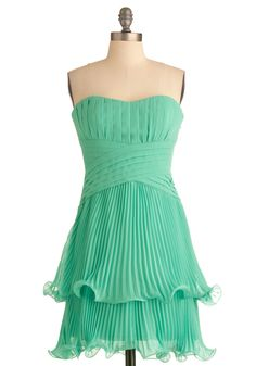 Soiree in Santorini Dress by Max and Cleo - Green, Solid, Pleats, Party, Empire, Strapless, Summer, Tiered, Formal, Mid-length