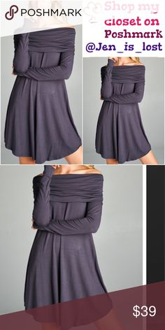 Steel Gray Off The Shoulder Dress Loose fit, off shoulder, long sleeve dress. Rounded hems. Folds over on shoulder. This dress is made with heavyweight knit jersey that is very soft, drapes beautifully, stretches very well, and is not sheer. Fabric Content: 95% Rayon 5% Spandex Dresses