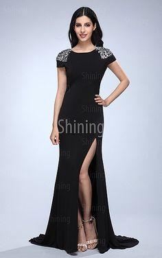 Black A-line Floor-length Jewel Dress