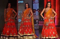 Bollywood actress Malaika Arora in beautiful orange netted lehenga embellished with gold border with gold woven flowers all over lehenga paired with matching designer sleeve less blouse with sequins, kundan work and netted duppatta with heavy work at Blenders pride fashion tour 2011.