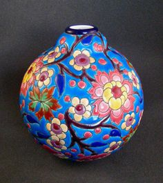 French Emaux de Longwy Pottery Ball Vase #222 circa 1935 Excellent! at QAntiquesandDesign