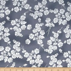 Metallic Floral Fabric by the Yard, Cotton, Quilt, Silver, Gray, Mary May, Flower, Small Print, Steel Blue, Home Decor, Apparel by BirdOnABough on Etsy
