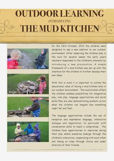 , It's not frozen and snowy everywhere! Here's help in introducing the mud kitchen! , It's not frozen and snowy everywhere! Here's help in introducing the mud kitchen. Play Based Learning, Learning Through Play, Early Learning, Preschool Activities, Kids Learning, Project Based Learning, Outdoor Activities, Outdoor Classroom, Classroom Fun