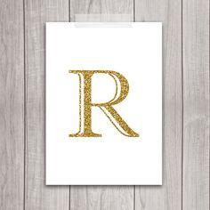 Gold Letter R Art - 5x7