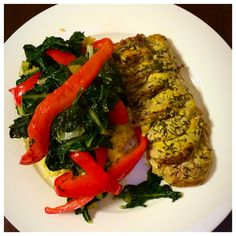 Roasted pork fillet with dijon mustard and thyme. Served with sautéed silver beet & capsicum on a bed of millet.