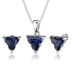 Ultimate Splendor: 10.75 carat Tri Flower Cut Blue Sapphire Pendant Earring Set in Sterling Silver Rhodium Finish Peora. $99.99