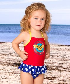 Look at this Red Wonder Woman Ruffle One-Piece - Infant