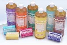 """Tons of uses for Dr.Bronner's Castille Soap- a truly """"natural"""" and environmentally-friendly alternative to traditional soap! (DIY laundry detergent, body wash, floor cleaner, etc) Castile Soap Uses, Bronners Soap, Hair Detox, Green Living Tips, Cleaners Homemade, Diy Cleaners, Thing 1, Liquid Soap, Natural Cleaning Products"""