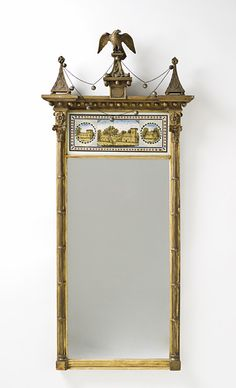 Pillar Looking Glass with Eagle and Festoons, United States, New York  circa 1800-1820, LACMA Collections Online