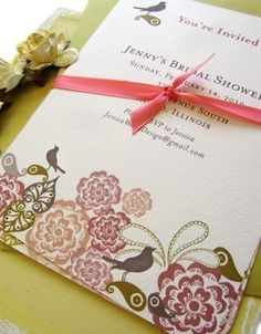 Birds!  5 x 7 Birds and Flowers Custom Invitation You Print by jessicawood