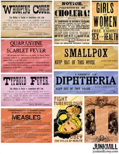QUARANTINE - Digital Printable Collage Sheet - Vintage Medical Posters, Virus Warning Labels, Apothecary Signs, Instant Download