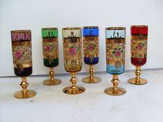 6 Bicchieri MURANO Glasses Hand Painted w Pure Gold & Flower Porcelain 6.5  Tall | eBay Venetian Glass, Murano Glass, Mason Jar Wine Glass, Glass Collection, Gold Flowers, Luster, Stained Glass, Porcelain, Peach