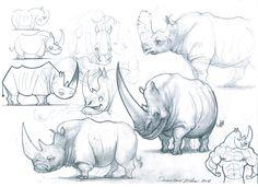 Rhino design sketchbook page by Edin Durmisevic on ArtStation. Pencil Drawings Of Animals, Animal Sketches, Cartoon Drawings, Art Drawings, Funny Sketches, Drawing Sketches, Drawing Ideas, Character Illustration, Illustration Art