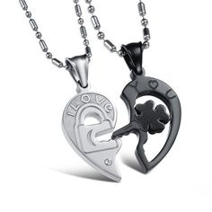 Romantic Him & Her Pendant Couple Necklace Black Gold Plated Stainless Steel Fashion Necklace //Price: $15.99 & FREE Shipping //     #shopping #styles