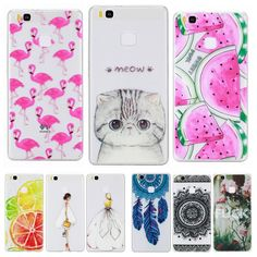Phone Case for Huawei Ascend P9 Lite Soft Silicon TPU Transparent Thin Cover Cute Cat Flamingo Fruit Cases for Huawei P 9 Lite