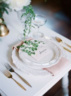 Elegant table setting with gold accents: http://www.stylemepretty.com/tennessee-weddings/nashville/2015/08/05/romantic-and-refined-classic-southern-wedding-inspiration/ | Photography: Julie Paisley - juliepaisleyphotography.com
