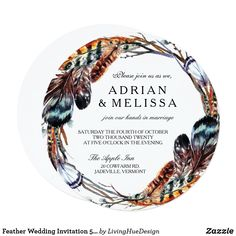 Shop Feather Wedding Invitation x Circle created by LivingHueDesign. Beautiful Wedding Invitations, Rustic Gardens, Feather Design, Marriage, Prints, Nice, Valentines Day Weddings, Mariage, Weddings