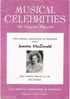JEANETTE-MacDONALD-CONCERT-PROGRAM-RICHMOND-VIRGINA-Feb-20-1948-15-pages