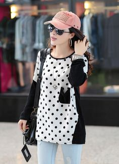Loose Polka dot patchwork T-shirt with Packet