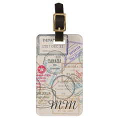 Passport Stamps Travel Luggage Tag