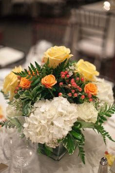 White-Orange-Yellow-Centerpieces