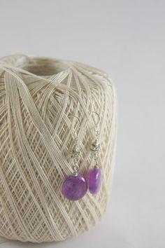 Purple Jade Earrings Sterling Silver Earrings by ThisNThatbyNikki, $8.00