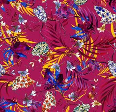 The Matthew Williamson marble nature print in raspberry red. Our holiday prints for spring 2016 capture the colour and creatures of the Amazon rainforest in all of their splendour and energy. This print was painted by hand in our London studio – from the petals of a heliconia to the markings of a beetle wing. In essence? They are prints waiting to be unpacked from your suitcase, ready to play on your next holiday.
