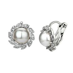 Yoursfs Sunflower Pearl Clip on Earring Bridal Wedding Party Jewelry 18k White Gold Plated >>> Be sure to check out this awesome product.