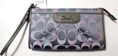 COACH Ashley Signature Zippy Wallet Wristlet Authentic F47872 Gray Pink Silver  Please visit BeachBonBoutique in Ebay