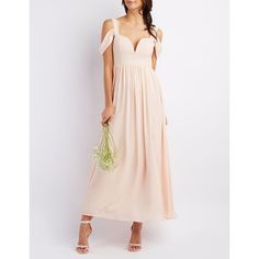 Charlotte Russe Cold Shoulder Sweetheart Maxi Dress ($60) ❤ liked on Polyvore featuring dresses, blush, maxi dress, cold shoulder maxi dress, ruched maxi dress, maxi skirt and chiffon bridesmaid dresses