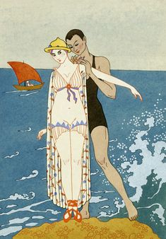 George Barbier (1882-1932) - French Art Deco Fashion Illustrator - Swimming Costume