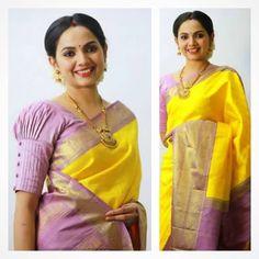Top trending latest blouse sleeves design - the handmade craft Pattu Saree Blouse Designs, Blouse Designs Silk, Designer Blouse Patterns, Saree Blouse Patterns, Skirt Patterns, Coat Patterns, Sewing Patterns, Simple Blouse Designs, Stylish Blouse Design