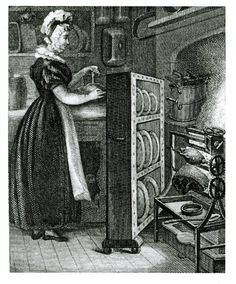 18th-century servant using a plate warmer to keep food hot as it went to the table. Usually kitchens were not next to the dining room.