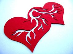 Two Hearts beat as One solid paper cut art by PaperCutWorks