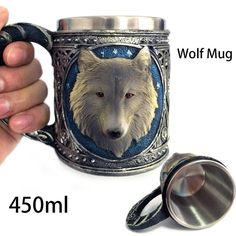 450ML Double Wall Resin Stainless Steel 3D Wolf Head Mugs Coffee Tea Beer Cup Mug Animal Cartoon Wolf King Drinking Cup #clothing,#shoes,#jewelry,#women,#men,#hats,#watches,#belts,#fashion,#style