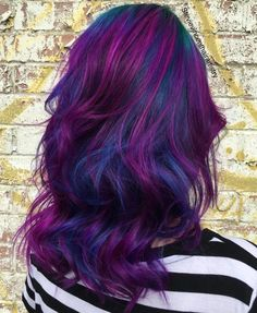 Bright Blue And Purple Balayage Hair