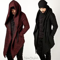 NewStylish-Mens-Fashion-Tops-Jacket-Outwear-Diabolic-Hood-Cape-Coat-Black-Red