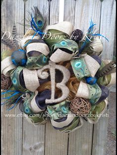 Peacock initial Wreath with Burlap and by DazzlinDoorzbyKristi, $95.00