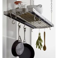 Shop J. A professional solution to cookware storage. Hang your pots and pans overhead for easy, space-saving access on our smart ceiling rack worthy of your finest cookware. Pot Rack Hanging, Hanging Pots, Pan Storage, Cabinet Storage, Food Storage, Grey Ceiling, Ceiling Storage, Stainless Steel Sinks, Crate And Barrel