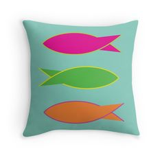 Fishes - Pop Art - Throw Pillow Cover - http://annumar.com/en/designs/fishes-pop-art-throw-pillow-cover