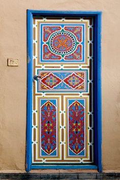 Image: Gaily-painted-door-from-Taroudant. Cool Doors, Unique Doors, Entrance Doors, Doorway, Front Doors, Moroccan Doors, When One Door Closes, Knobs And Knockers, Door Gate