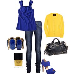 Royal blue and canary yellow