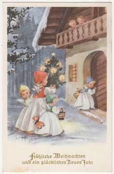 (018) Children watch four angels with Christmas tree and presents, gel. 1959 HOYOS   eBay