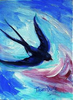 One Swallow Never Made a Summer Original Acrylic  on by ARTbyTRUDI, $85.00