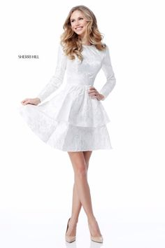 Sherri Hill 50617 White Short Prom Dress with ruffles, texture, and long sleeves Ypsilon Dresses in SLC Utah Prom Pageant Evening Wear School Dance Dress Sweethearts Homecoming Prom Special Occasion Formal Formalwear