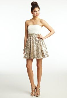 #camillelavie.com         #Skirt                    #Graduation #Dresses #Short #Strapless #Dress #with #Sequined #Skirt #from #Camille #Group              Graduation Dresses - Short Strapless Dress with Sequined Skirt from Camille La Vie and Group USA                                  http://www.seapai.com/product.aspx?PID=686190