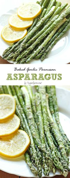 A perfect side dish, fresh asparagus baked to perfection and topped with parmesan and garlic and made with just 5 min prep!