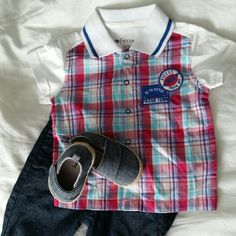 NWOT Baby boy Polo shirt Baby boy Polo shirt. 100% cotton. Very soft. Short sleeve. Make me offer, bundle Tops Button Down Shirts