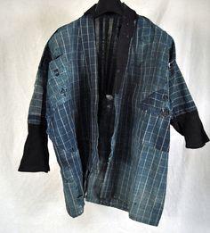 Japanese Boro Noragi Sashiko Indigo Dye Cotton Fabric Patch Check Kimono Japan