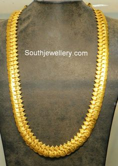 22 carat gold elegant plain gold kasu haram with peacock design from Hiya Jewellers.
